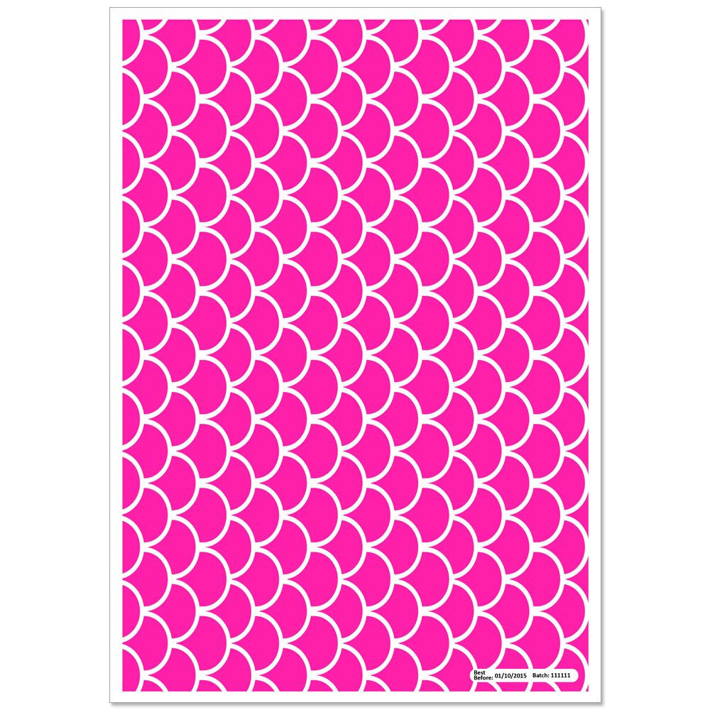 Patterned Paper(A4) - Fish Scales - Cerise Pink. Pack of 6