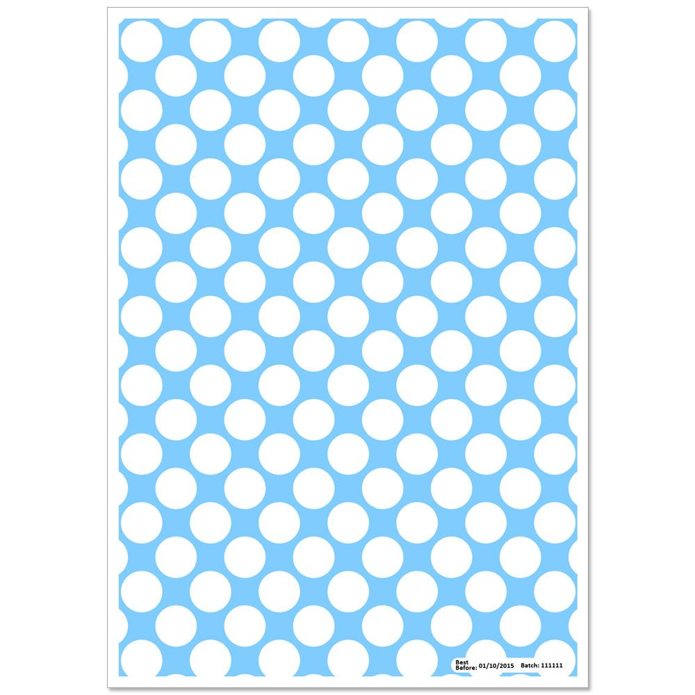 Patterned Paper(A4) - Large White Polka Dots - Baby Blue