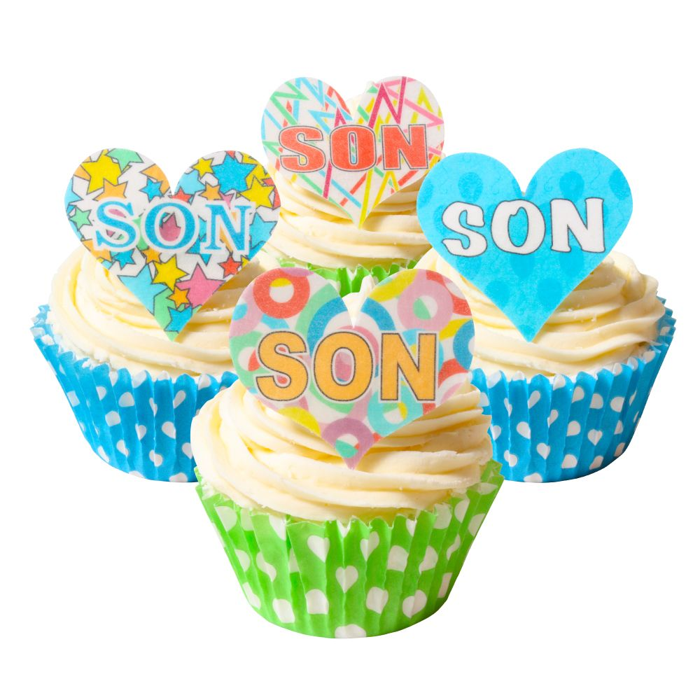 Mixed Pack of 12 Edible Wafer Decorations - SON Celebration Heart Toppers