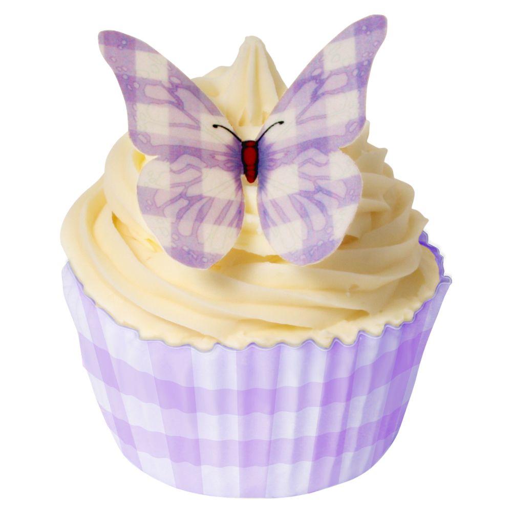 CDA Wafer Paper Pack of 12 Purple Gingham Design Butterflies
