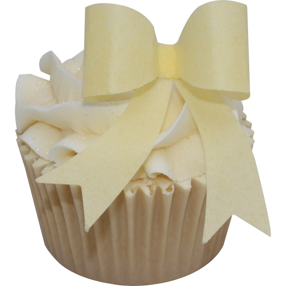 Pre-cut kit of 10 EDIBLE WAFER BABY YELLOW BOWS