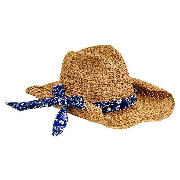 PBC2451OSNBL- WOMENS PAPER COWBOY W/ BANDANA PRINT BAND  -  NATURAL/BLUE   -  WOMENS O/S