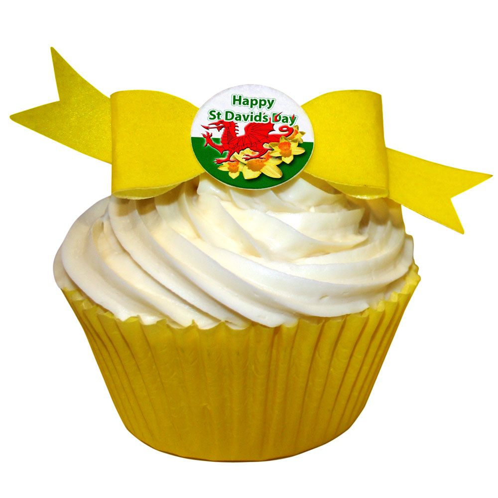 Pack of 10 Edible Wafer Decorations - St Davids Day Bow (Dragon & Daffodils)