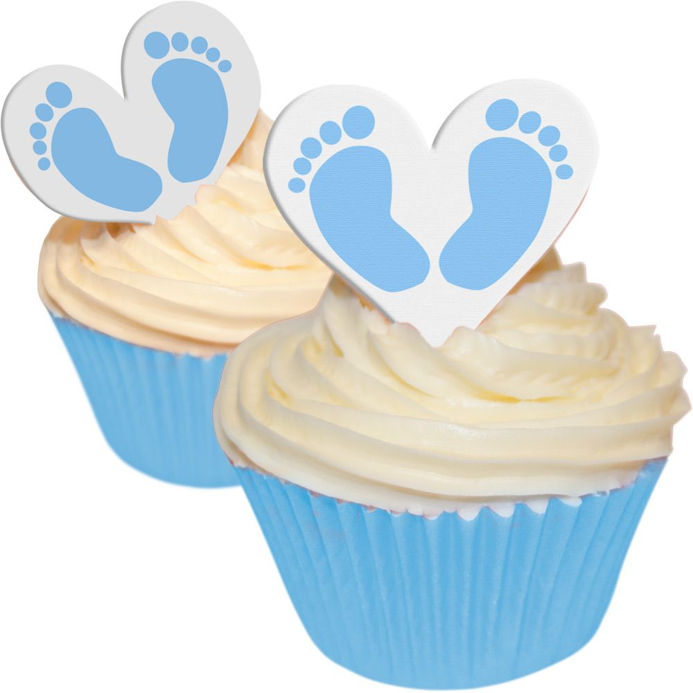 CDA Wafer Paper Pack of 12 Baby Shower - Baby Feet Girl - Heart Toppers