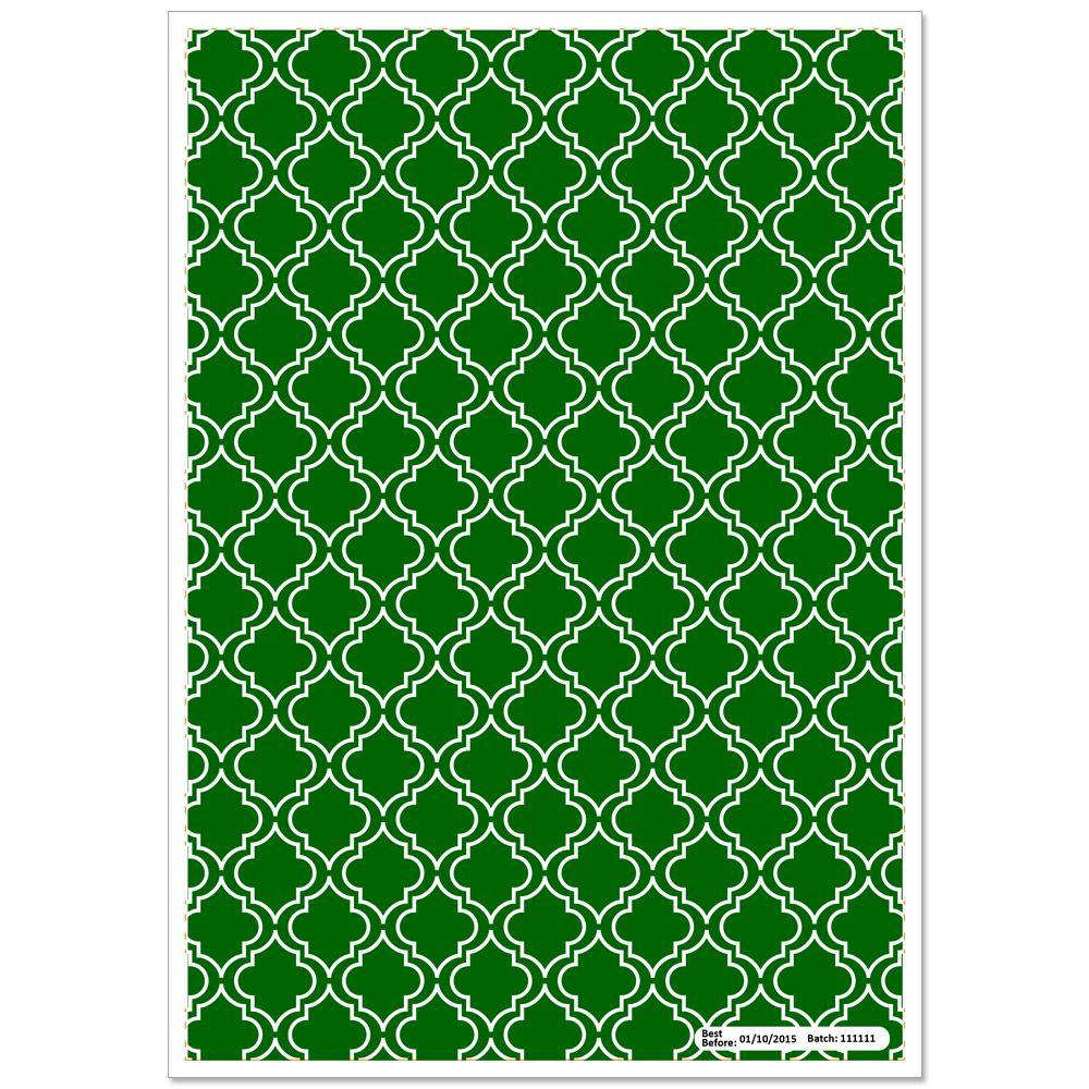 Patterned Paper(A4) - Moroccan - Dark Green. Pack of 6