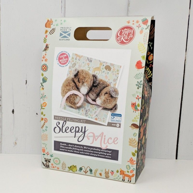 Crafty Kit Company  Sleepy Brown Mice Needle Felting Kit