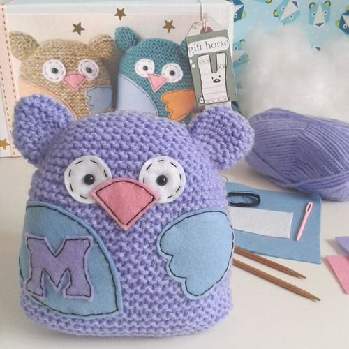 Gift Horse Kits: Personalised Owl Learn To Knit Kit