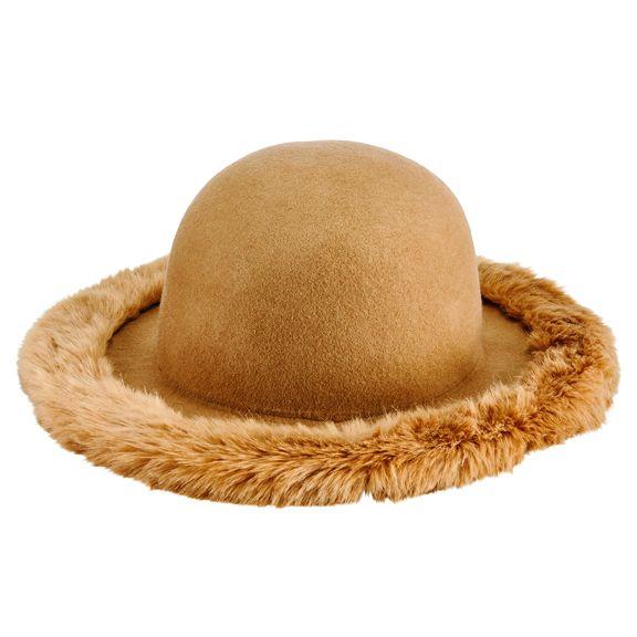 San Diego Hat Company: Women's wool felt floppy with faux fur brim edge