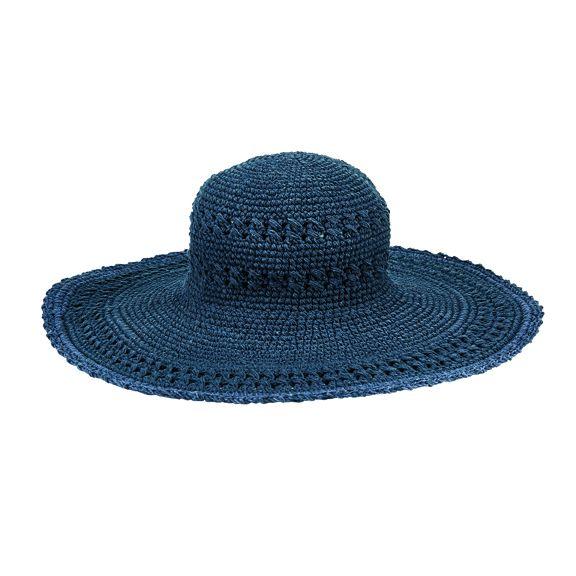 CHXL1OSNAV- Crochet Brim Hat with scalloped edge: Navy LARGE BRIM