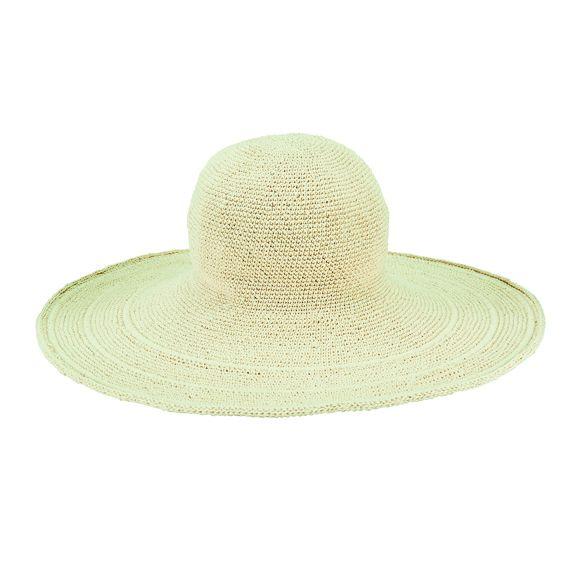 CHXL5OSNAT- Crochet brim hat: Natural LARGE BRIM