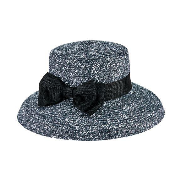 DRS1054OSBWT- Paper braid dress hat: Black & White
