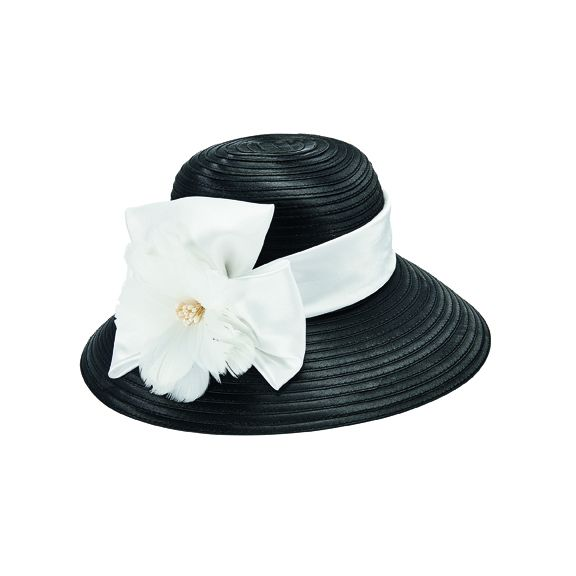 DRS3554OSBWT- Satin cloche hat: Black & White