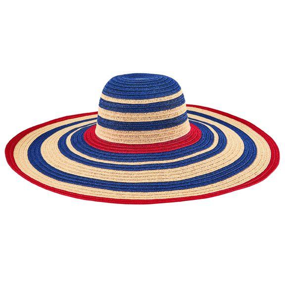 PBL3211OSNAV- Paperbraid striped wide brim sun hat: Navy