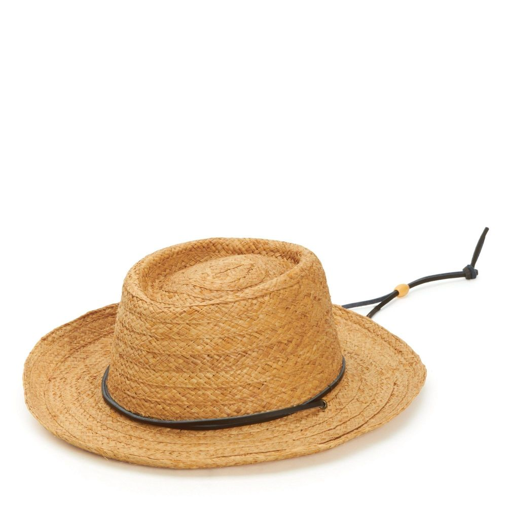 RHM6002OSNAT- Straw gambler with leather chin cord: Natural