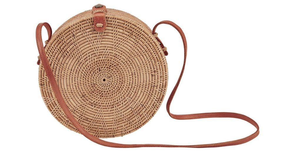 BSB3577OSNAT- Handwoven ata reed round bag: Natural