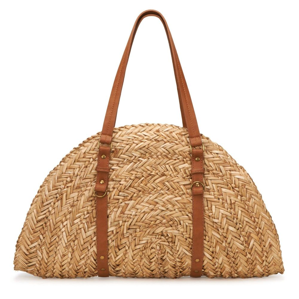 BSB1358OSNAT- Woven straw crescent shaped bag: Natural