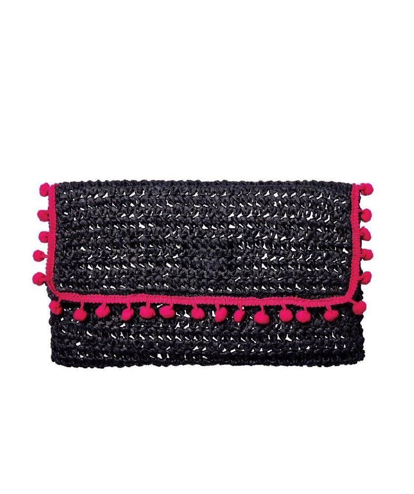 BSB1703OSBLK- Rectangular paper crochet fold over pom trim clutch: Balck