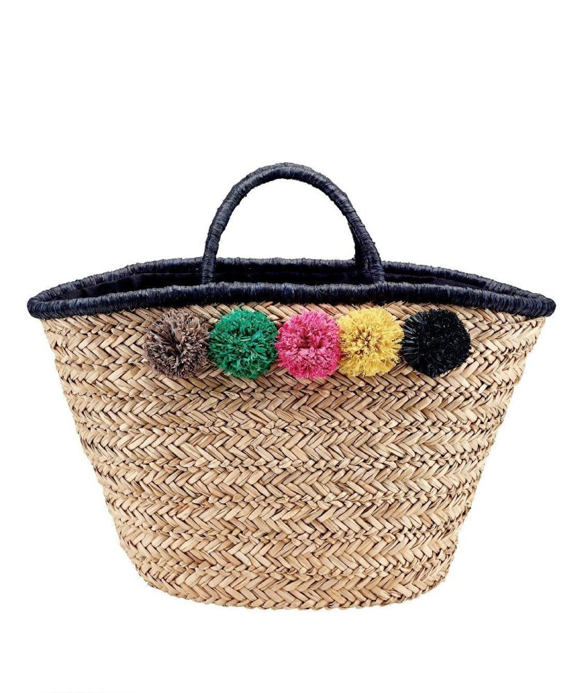 BSB1714OSNAT- Woven seagrass tote with multi color pom: Natural