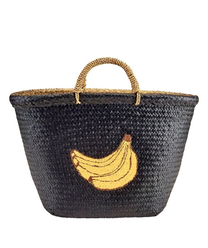BSB1716OSBLK- Woven painted seagrass banana tote: Black