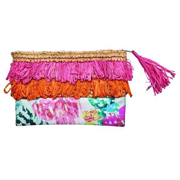 BSB1718OSPNK- Woven raffia fringe clutch: Pink