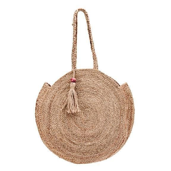 BSB1745OSNAT- Circular shaped tote with tassle trim: Natural