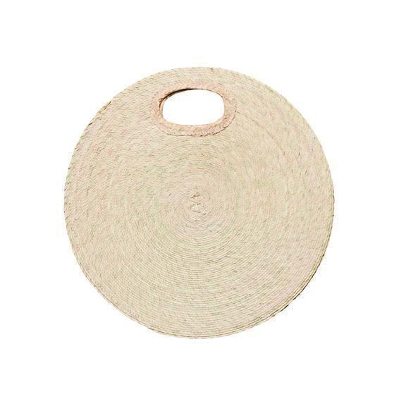 BSB1761OSNAT- Artisan crafted palm straw braid round handbag: Natural