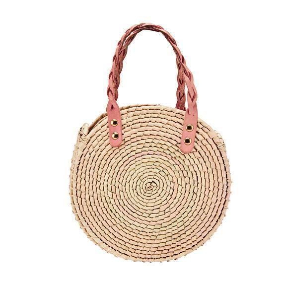 BSB1763OSNAT- Artisan handmade crochet palm round handbag: Natural