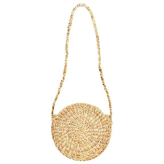 BSB3704OSNAT- Water hyacinth round crossbody bag: Natural