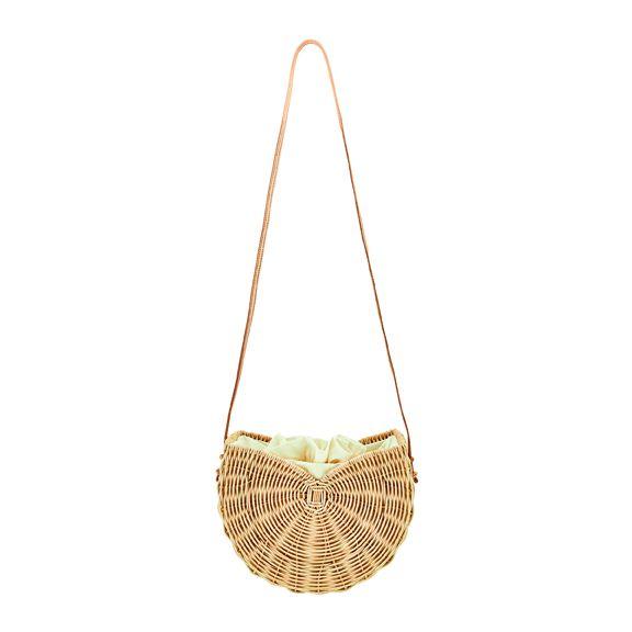 BSB3707OSNAT- Hand woven rattan fan shaped bag: Natural