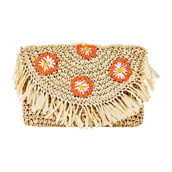 BSB1737OSNAT- Paper crochet clutch with embroidered daisies: Natural