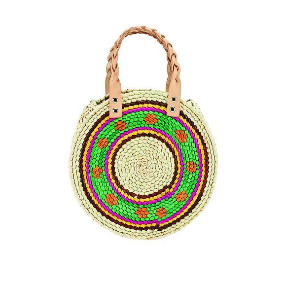 BSB3715OSMLT- Artisan handmade crochet palm round pattern handbag: Multi