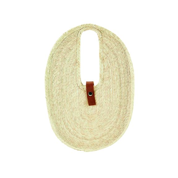 BSB3718OSNAT- Artisan fine palm straw braid oval tote: Natural
