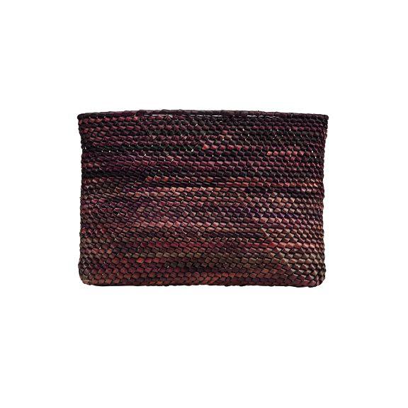 BSB3719OSBRN- Artisan handmade crochet palm straw clutch: Brown
