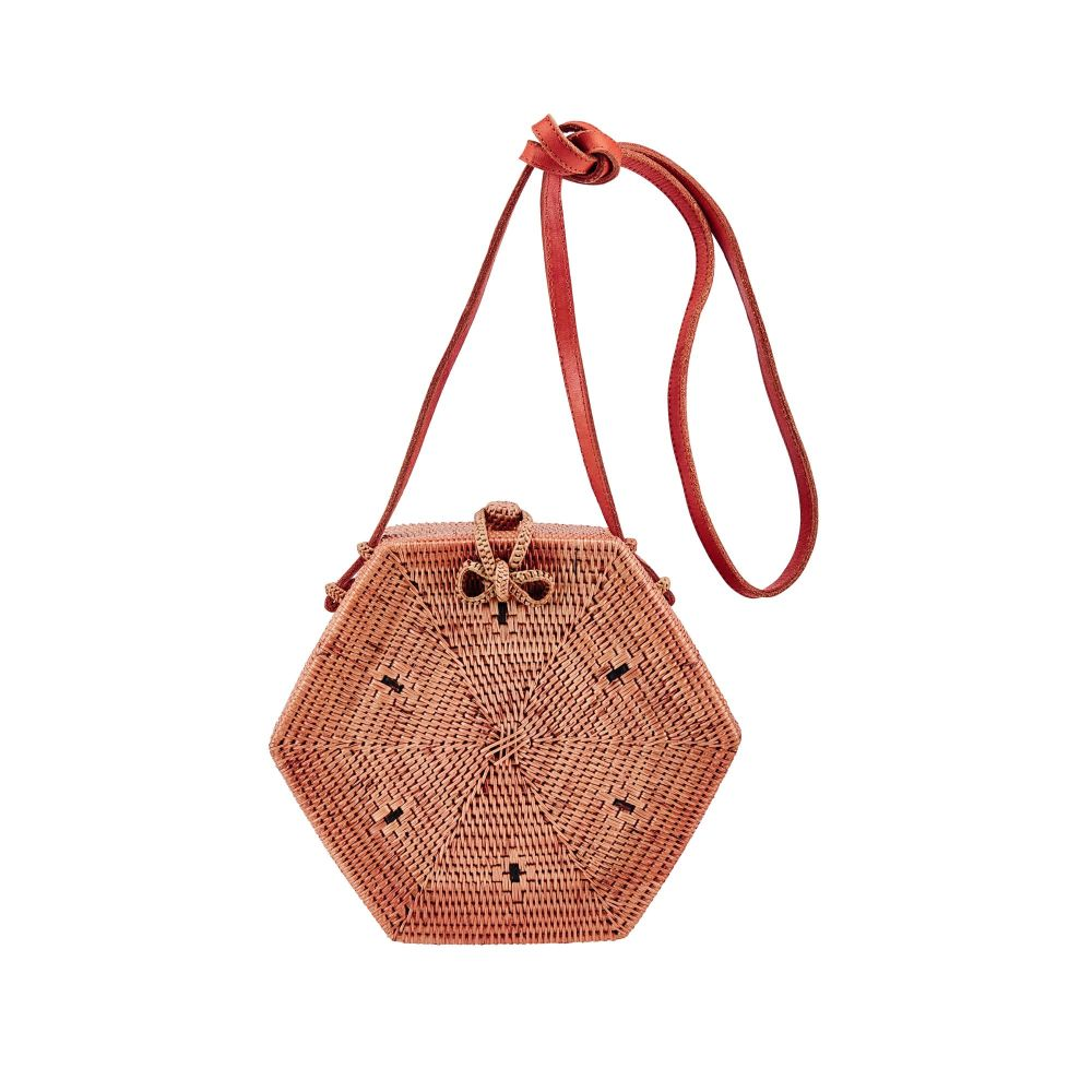 BSB3572OSNAT- Handwoven ata reed hexagon bag: Natural