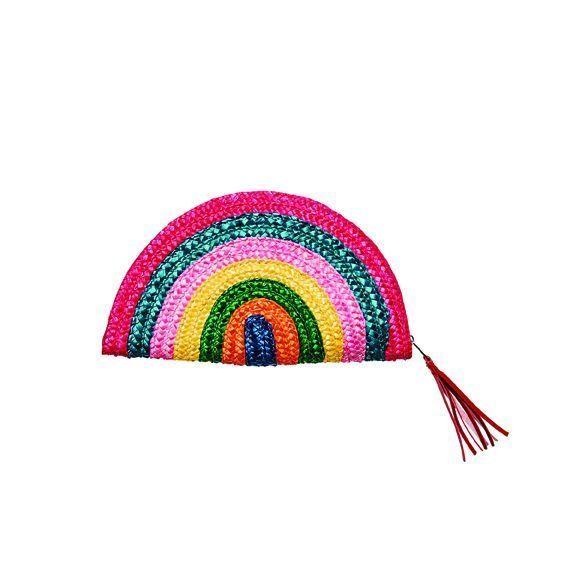 BSB1738OSMLT- Rainbow dyed wheat straw clutch: Multi