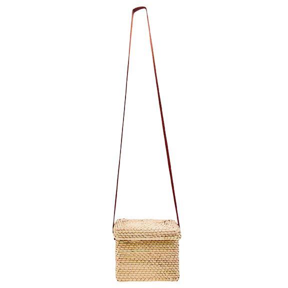 BSB1760OSNAT- Artisan handmade crochet palm mini crossbody bag: Natural