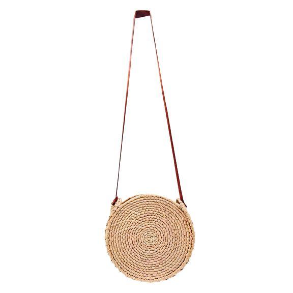 BSB1762OSNAT- Artisan handmade crochet palm round crossbody bag: Natural