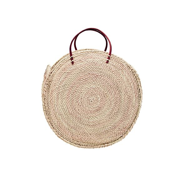 BSB1766OSNAT- Artisan handmade oversized palm straw crochet round tote: Natural