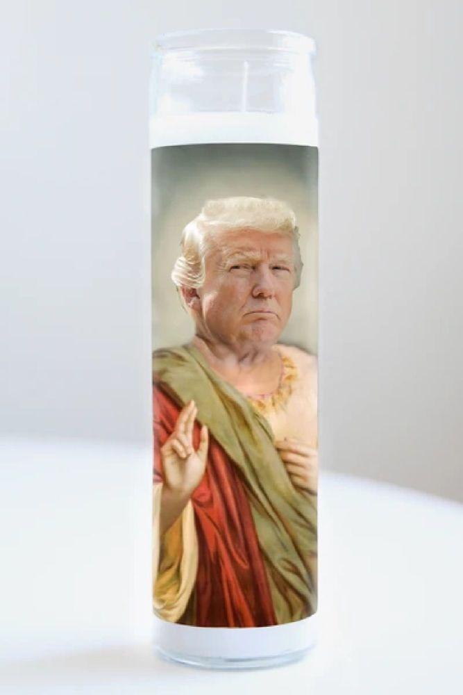 Illuminidol Celebrity Prayer Candle: DONALD TRUMP (Blue)