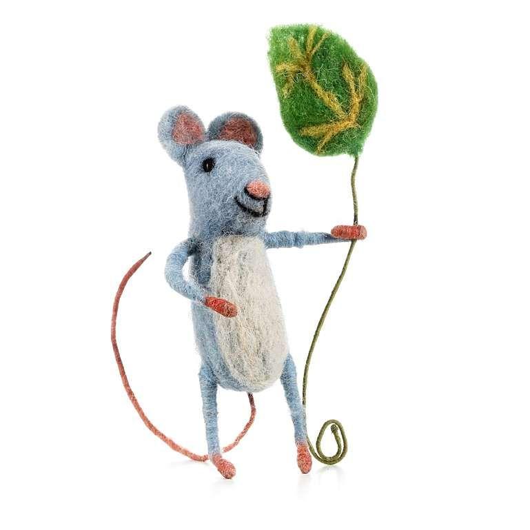 Sew Heart Felt: Blue Felt Mouse with Leaf