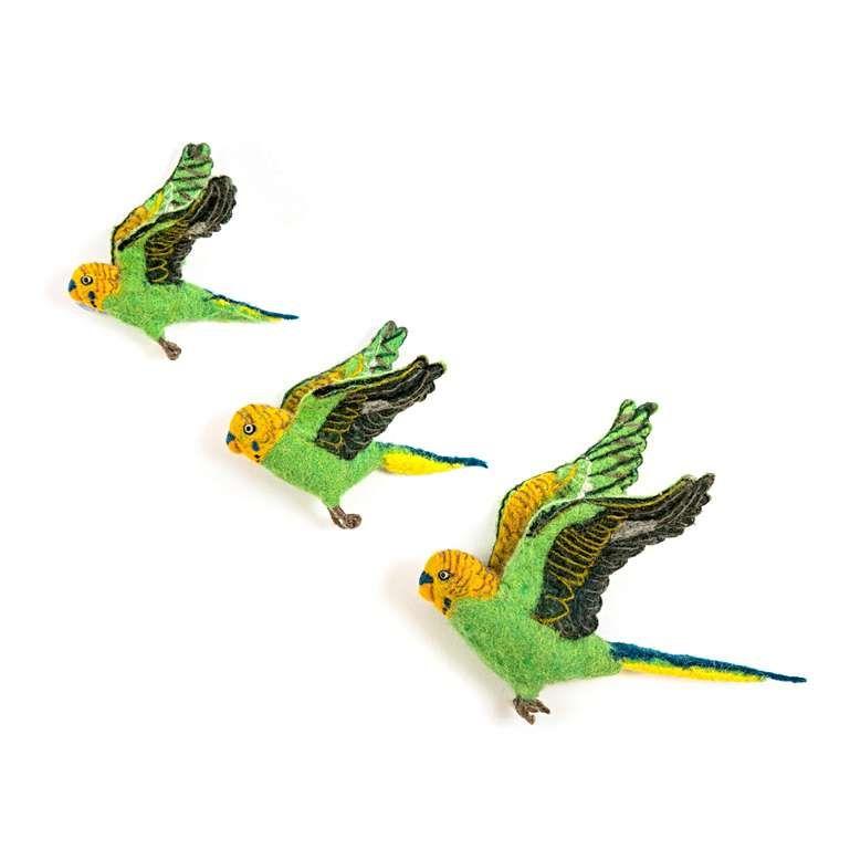Sew Heart Felt: Flying Green Budgies Trio
