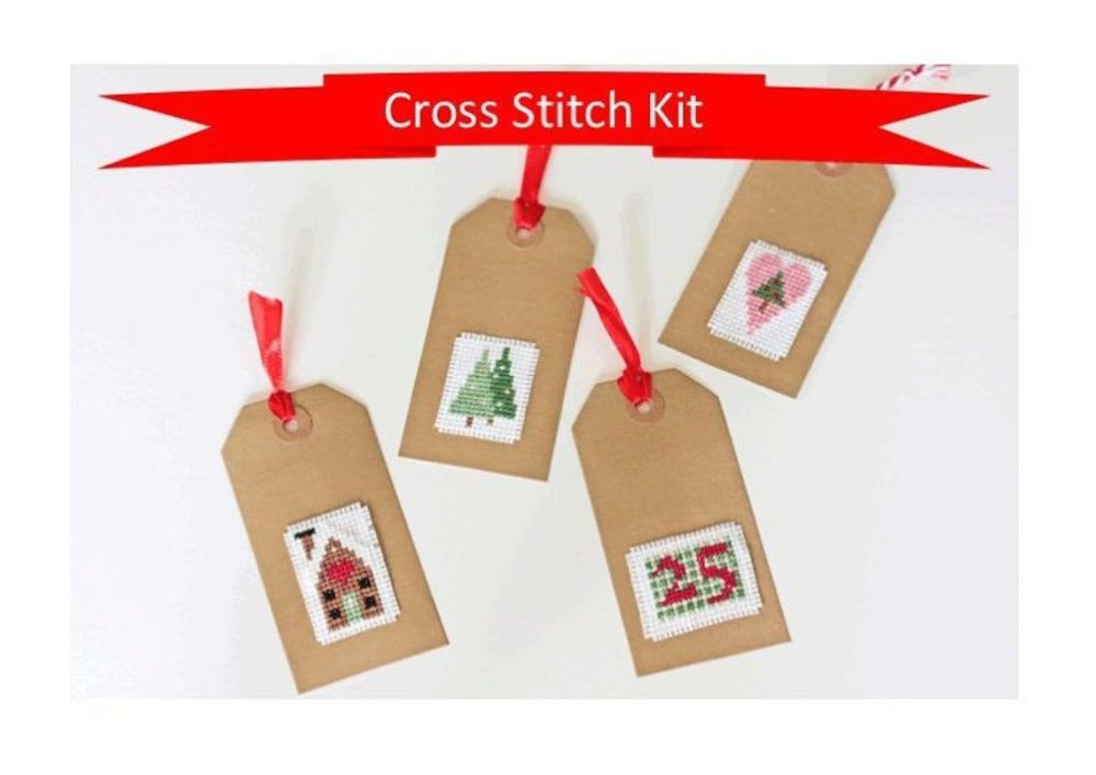 Cinnamon Stitch: Christmas Gift Tags Cross Stitch Kit - Folk Art