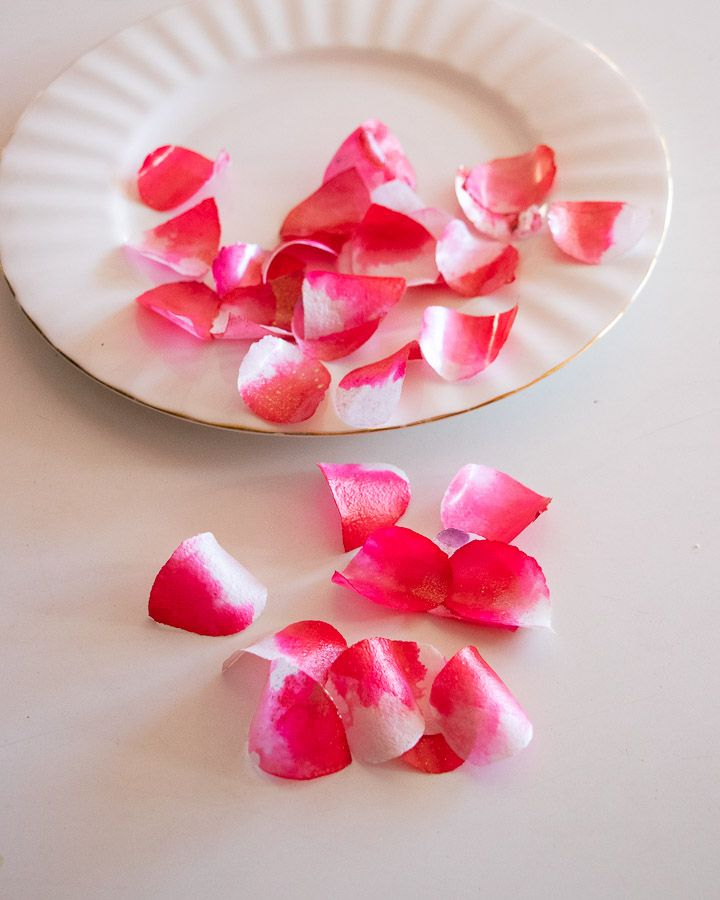 Sweet and Edible Rose Petals: Cerise Pink and White. No6