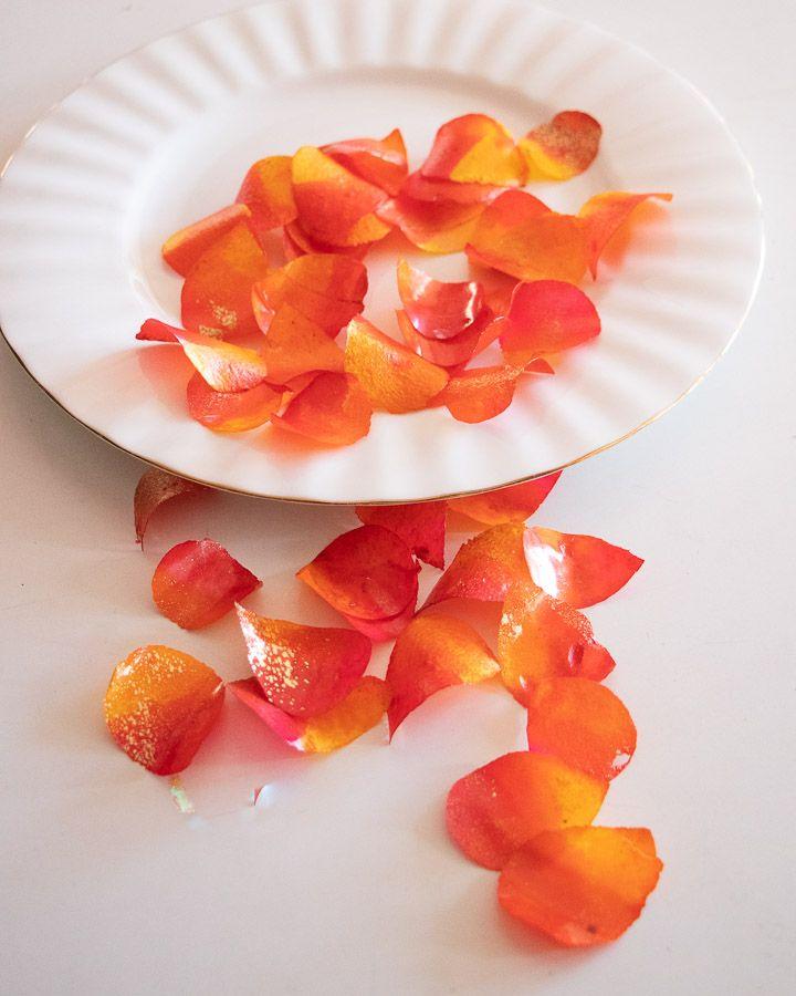 Sweet and Edible Rose Petals: Burnt Orange and Yellow