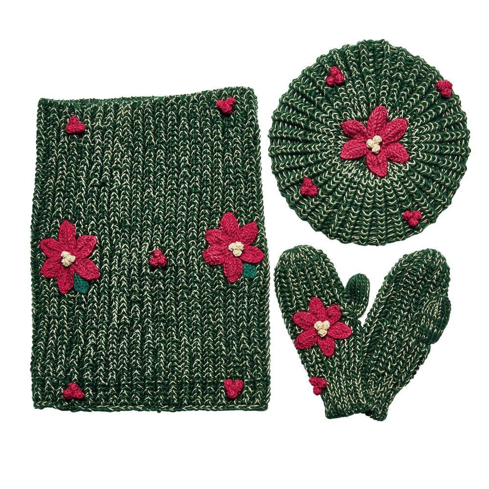 San Diego Hat Company: Women's machine knit holiday wreath scarf, beanie an