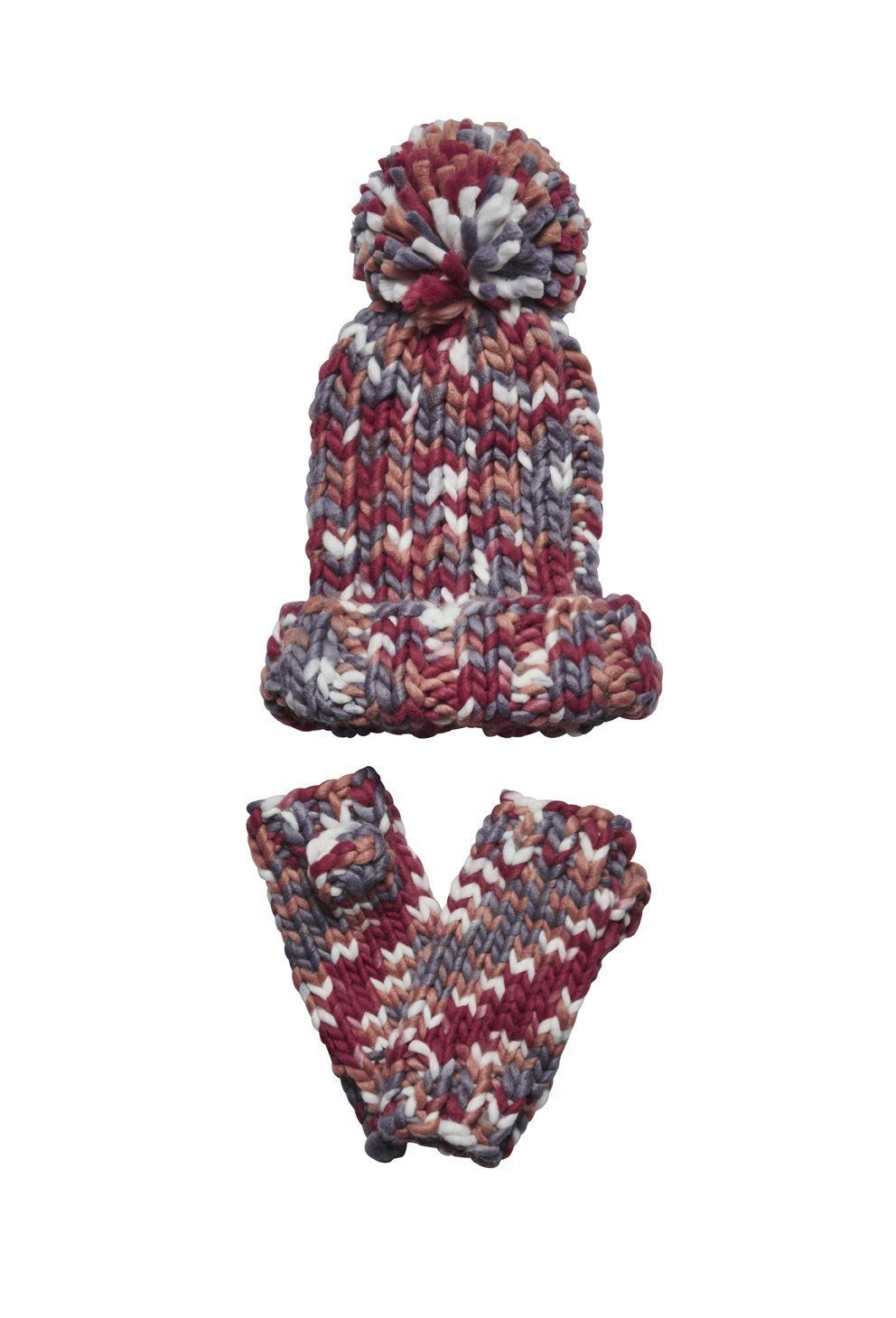 San Diego Hat Company: Women's multi yarn ponytail beanie and fingerless gl