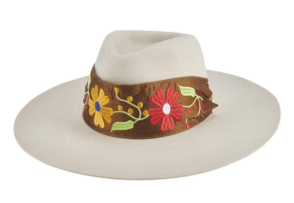 San Diego Hat Company: Women's pinch crown stiff brim fedora with embroider