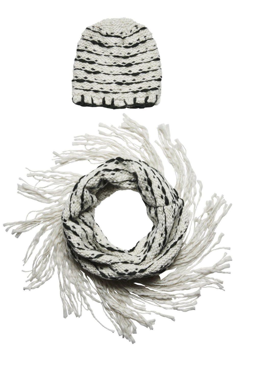 San Diego Hat Company: Women's stripe beanie with stripe scarf and fringe s