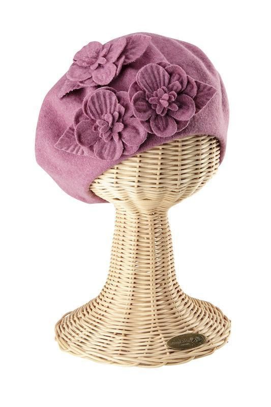 San Diego Hat Company: Womens Wool Beret With Flowers #2