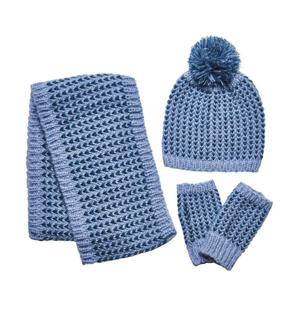 San Diego Hat Company: Woman's contrast heart pattern crochet knit set